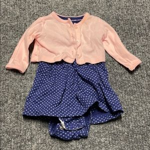 Carter's baby girl blue dress with pink jacket-3m